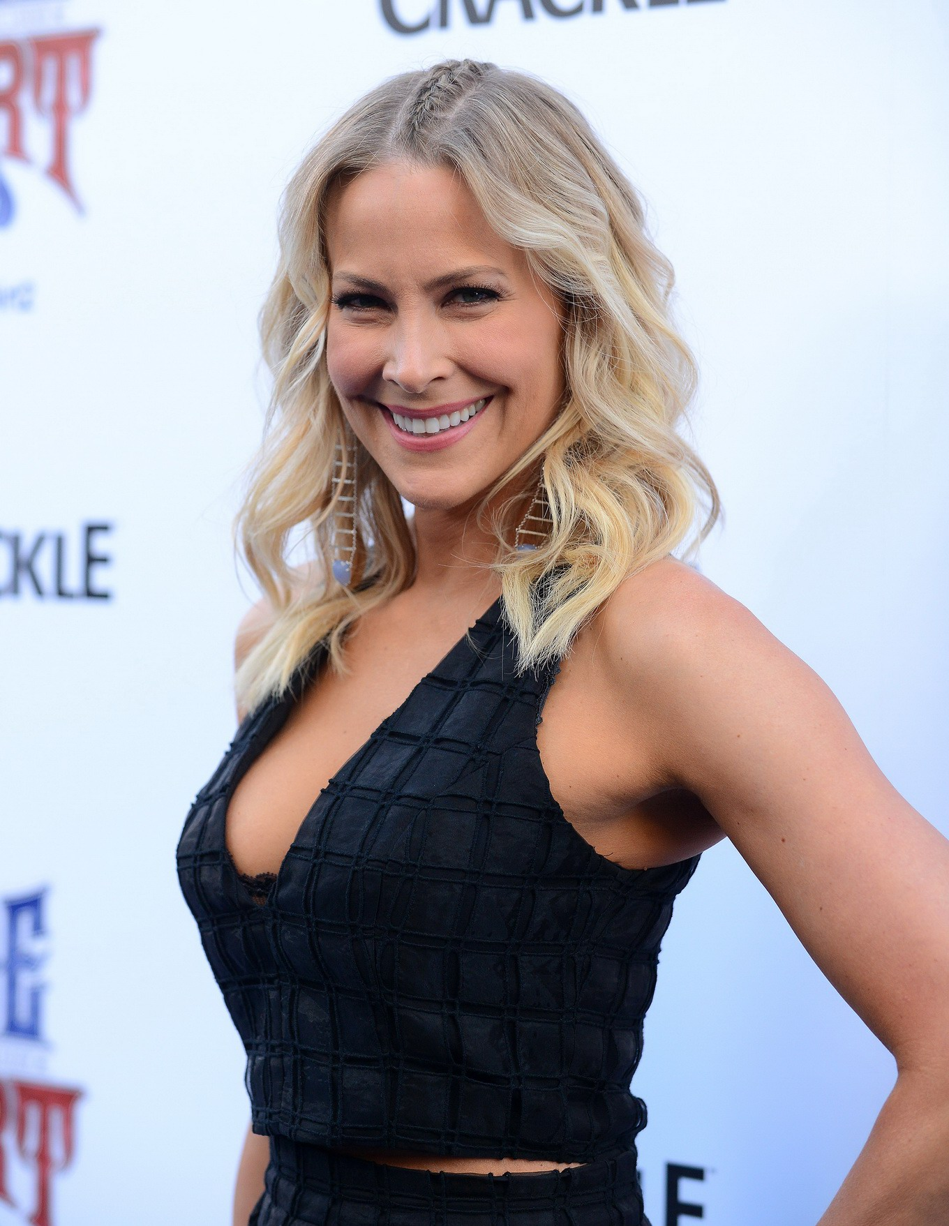 Brittany Daniel showing huge cleavage in a hot black dress ... Brittany Daniel