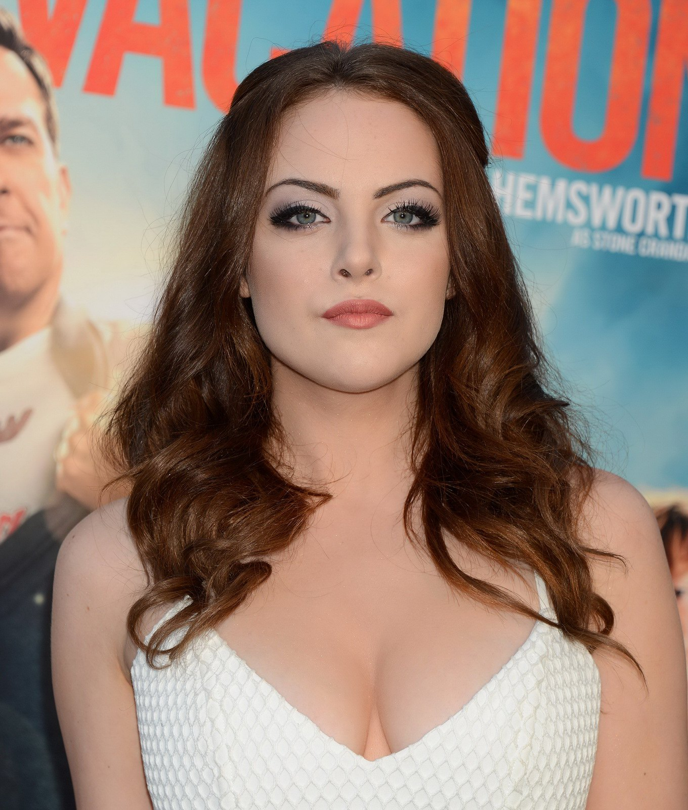 elizabeth gillies showing huge cleavage in white mini dress at the
