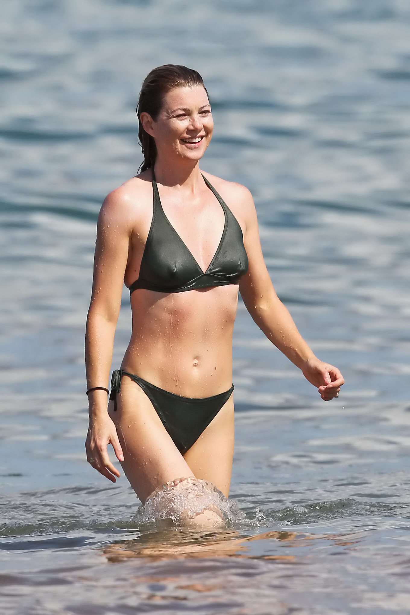 pompeo showing off her hot body in skimpy bikini at the beach in maui