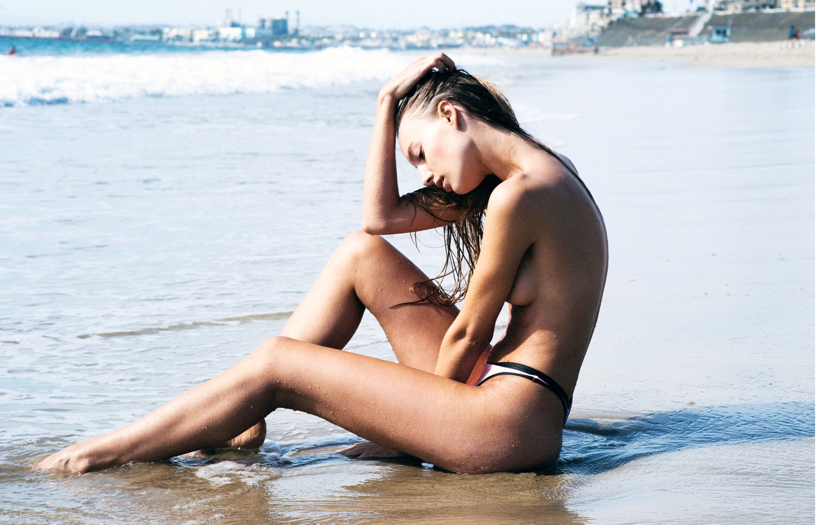 Maya Stepper topless at the beach for SIR The Label January 2016 issue