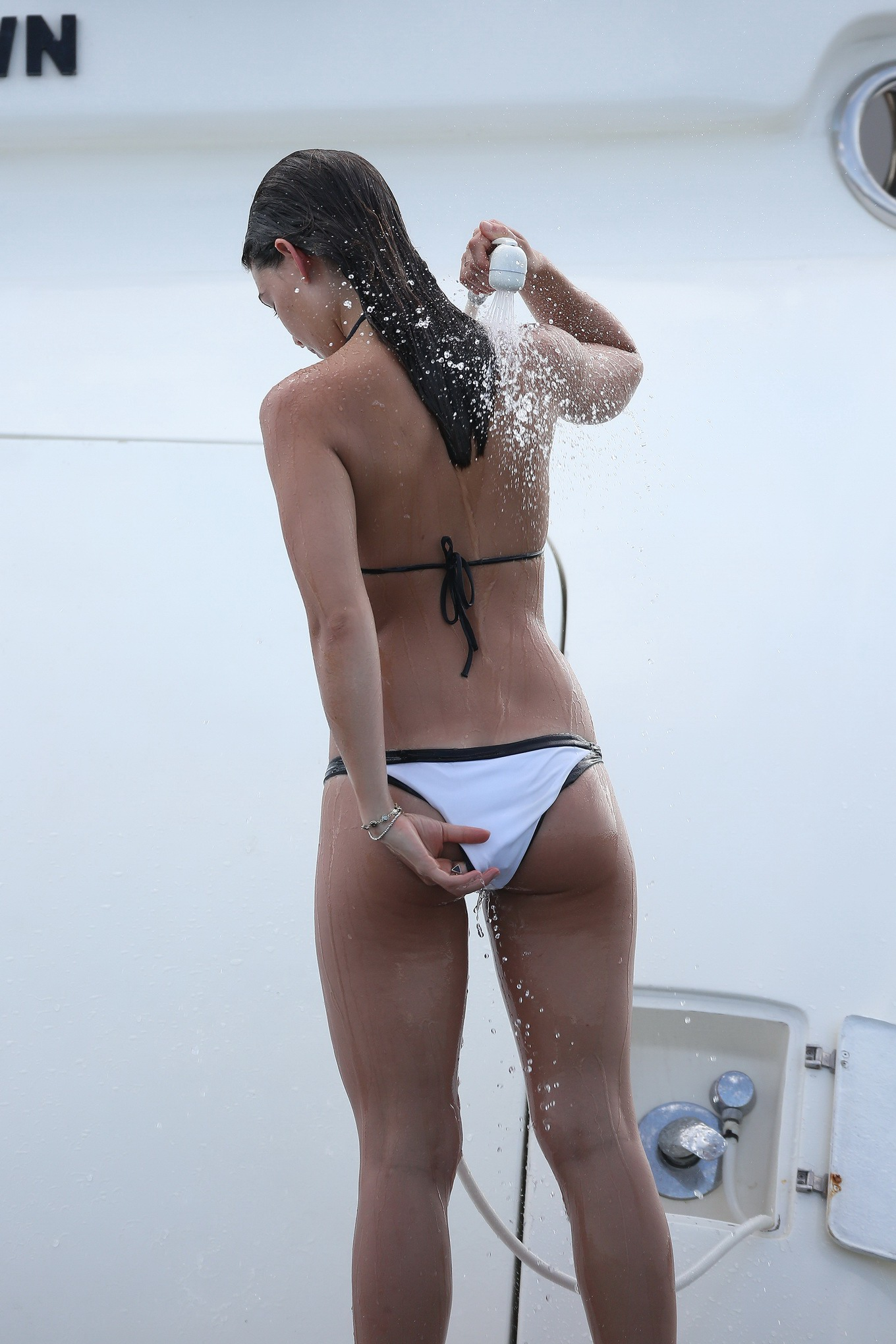 danielle campbell showing off her hot bikini body at the yacht in cabo