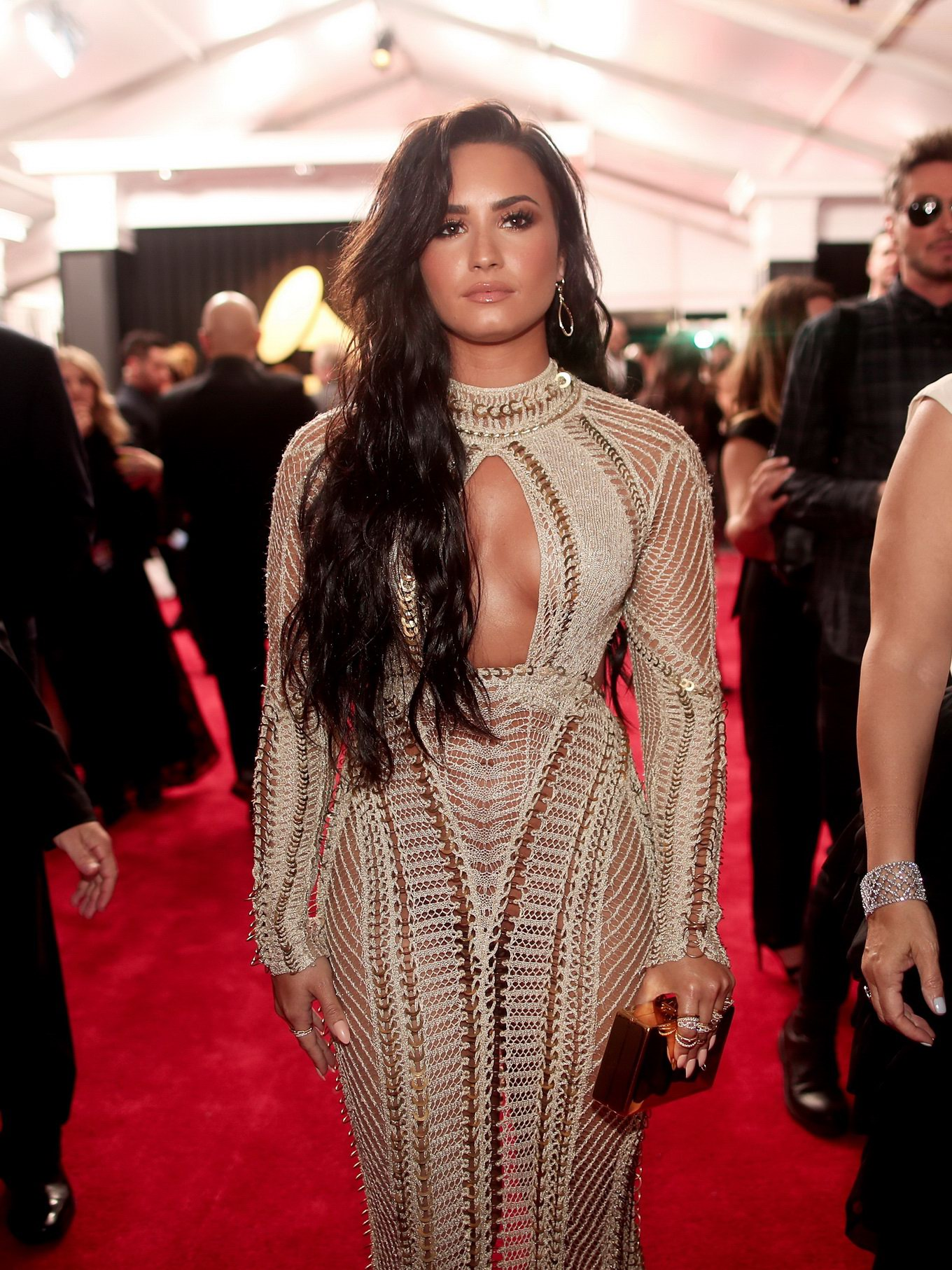 Demi Lovato braless and pantyless in a plunging mesh see-through ...