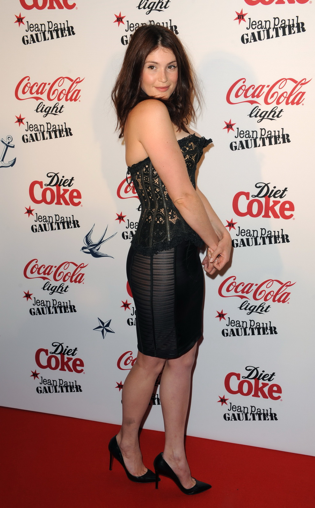 Gemma Arterton Showing Big Boobs Brales In C-Thru Corset And Mini Skirt At Jean-Paul -3316