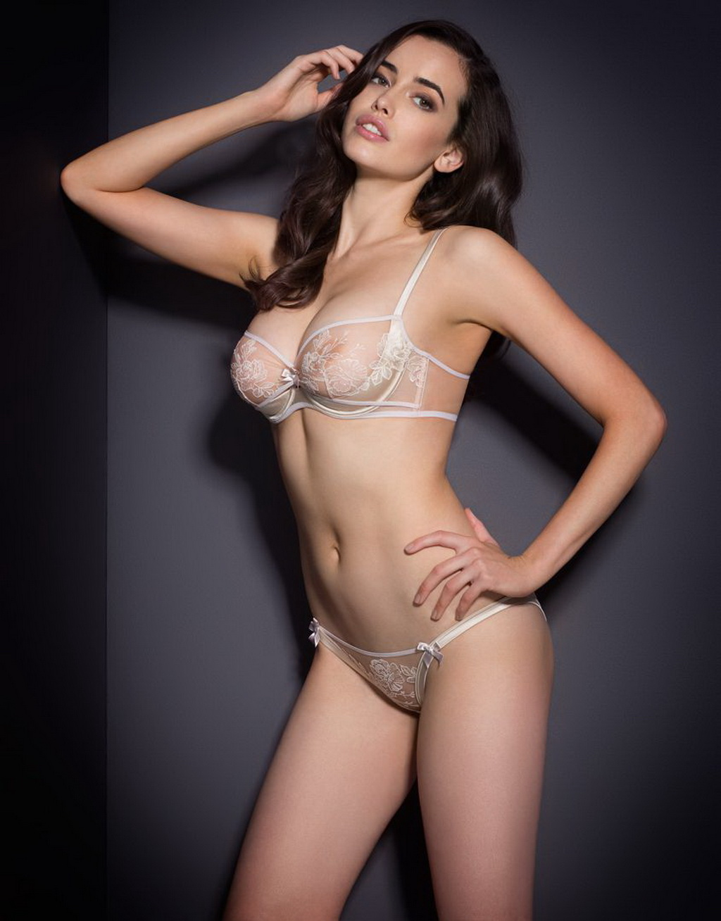 sarah stephens wearing white see through lingerie for
